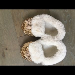 PBKids gold sequin and faux fur slippers